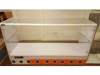 GLASS DISPLAY SHOP COUNTERS 2 X LARGE WHITE AND 1 X SMALL BROWN