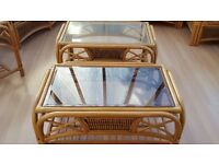 3 Cane Smoked Glass Top Tables
