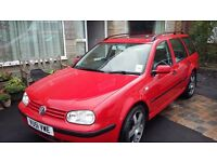 Low mileage, red VW Golf estate, 2 X keys, alloy tires + spare, lots of space!