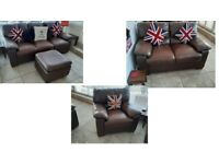 REDUCED DFS Beautiful Real genuine leather Brown 3 seater sofa 2 seater sofa matching chair pouffee