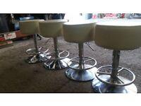 Set of 4 white leather bar stools