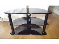 Modern gloss black 3 tiered TV stand