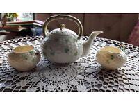 Belleek Basket Weave Teapot, cream jug and sugar bowl