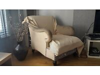 Lovely arm chair in need of recovering, material included.