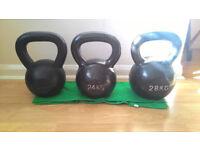 Kettlebells 20kg, 24kg and 28kg