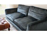 Harrods Sanderson Blue Velvet Couch Sofa