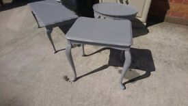Three shabby chic tables