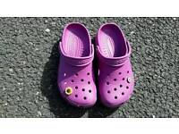 Crocs, size 4, with pins