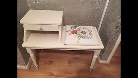 Telephone Seat Table with Drawer, shabby chic