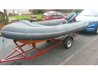 14 ft rib fiber glass hull with 20 hp yamaha outboard £2195 ono may swap px