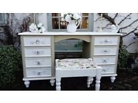 Beautiful shabby chic dressing table /desk with stool.