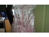 stunning pink and diamonte prom dress