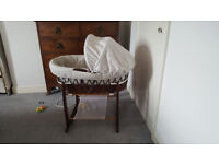 Moses basket + rocking stand, wooden, used but good condition, Combe