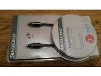 Optical Cable with Gold-platted Plug contacts 1.5 m NEW-Silver crest-Germany