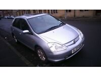 AUTOMATIC 03 HONDA CIVIC 1.6.LOW MILEAG 48000, FULL YEAR MOT,5 DR HATCHBACK REMOTE CENTRAL LOCKING