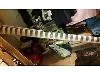 Green & White stripe Garden Awning 8ft wide x 12 long.