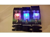 Atts fishing bite alarms x3 heads in crystal blue red and purple new