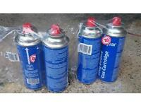 4x unused gas cartridge, 4x part used gas cartridge for portable stove