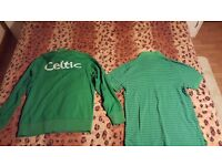 Celtic t-shirt and tracksuit top both size L