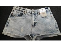 Girl jeans denim high waist shorts 12 BNWT