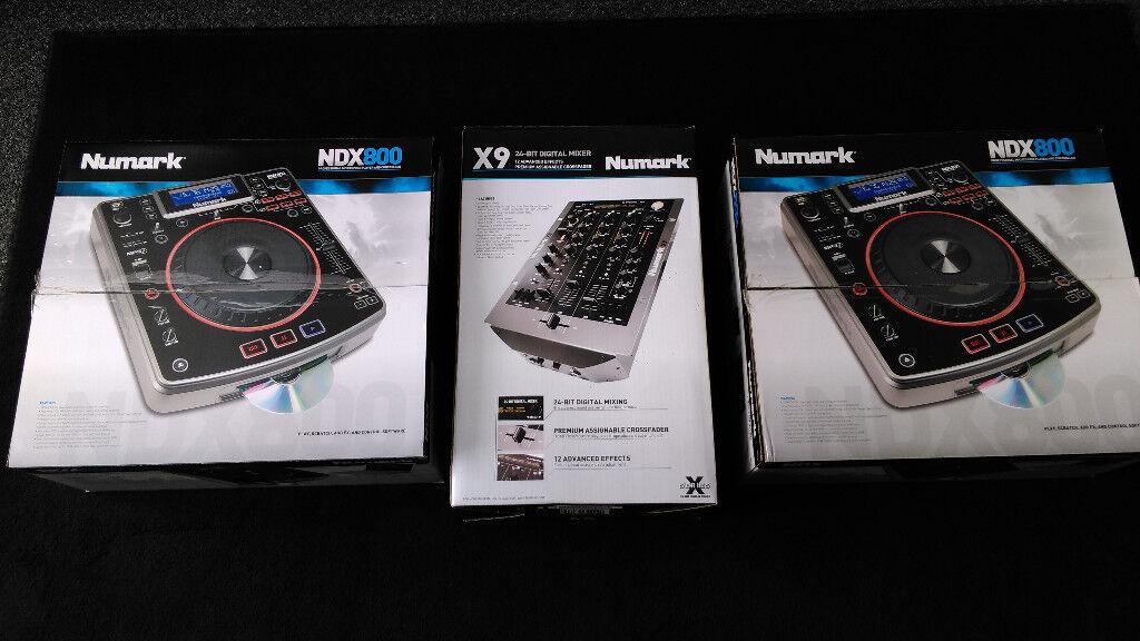 Numark NDX 800 cdjs + X9 mixer (boxed)
