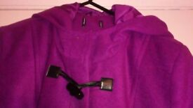 purple pink colour jacket with hood. size 16