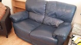 FREE Blue leather sofa in fantastic condition