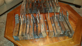 Wooden moulding planes, 26 ass various cutter shapes & makers, had them for 35 year, never used them