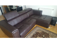3 Seater L-Shape Chocolate Brown Sofa - £450 ONO