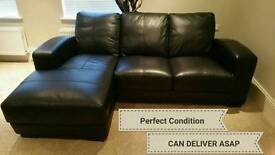 NEW 3 Seater Italian Black Leather Sofa CAN BE DELIVERED ASAP