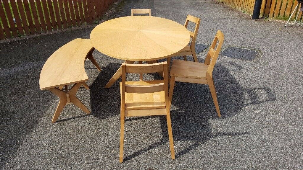 Large Oval White Oak Table 4 Chairs & Bench FREE DELIVERY 009
