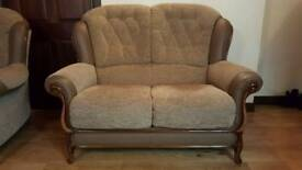 Immaculate Mini Divani Queen Ann Fabric & Leather 2 Seater & 2 Chaits