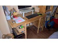 Small solid vintage oak desk