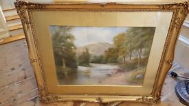 antique painting signed and dated 1912 in original gilt frame