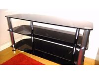 Black galss and chrome TV stand for hifi stand set-up