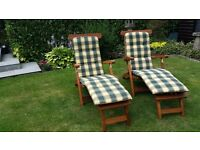 Teak Steamer Chairs with Cushions (as new - never used)