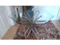 VINTAGE MID CENTURY BAUGHMAN STYLE ITALIAN GLASS CHROME BUTTERFLY DINING TABLE