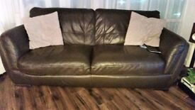 Brown Leather Living room set (3 seater, chair and pouf)
