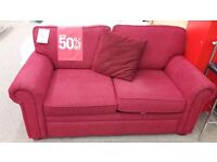 Red Fabric 2 Seater Sofa Bed