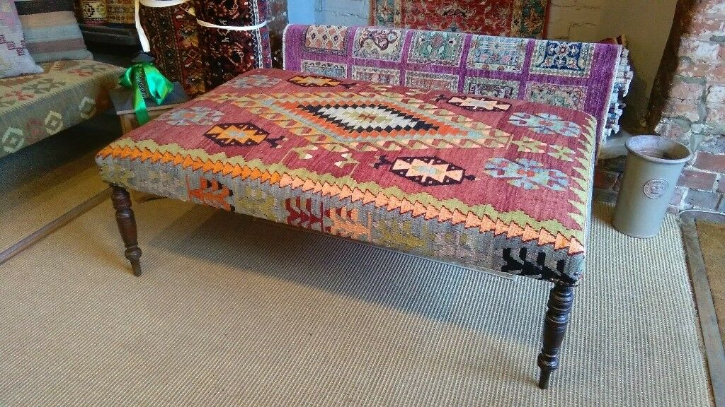 Large Kilim Footstool Coffee Table Upholstered In Handmade Antique Legs Bespoke Ottoman
