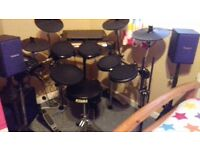 Alesis Forge Drums And Roland Monitor Speakers On Stands And Amp