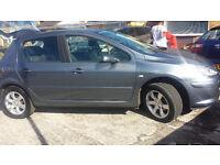 2007 PEUGEOT 307 1.6 16v S 5 DOOR HATCH SILVER LOW MILEAGE 110 BHP (£1600 ONO)