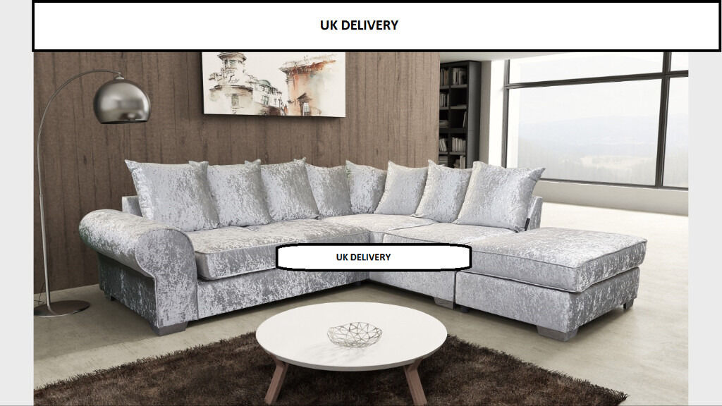 BRAND NEW ROYAL CRUSHED VELVET CORNER SOFA AVAILABLE IN 2 COLOURS UK DELIVERY