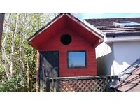 Childrens Playhouse Shed with floored upstairs - Patio style overhang roof with view window