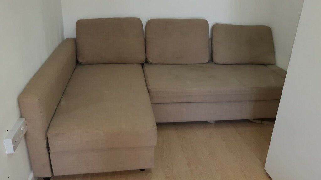 Sofa Bed Ikea KIVIK 3 Seat With Chaise Longue Hillared Beige