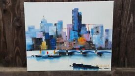 6 Paintings - Art work of several subjects (metropolis, old towns, flowers) on canvas