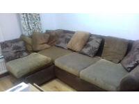 Big Double Bed Corner Sofa +Puff washable covers Brown cushions