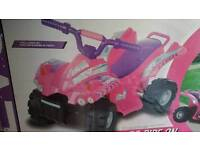 Baby girls quad bike rechargeable new and boxed unopened suit 2 years plus .
