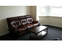 Leather 3 seater sofa+ free single seater