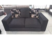 BRAND NEW 2 SEATER LARGE DESIGNER SOFA BLACK FABRIC WITH SCATTER BACK CUSHIONS **CAN DELIVER**